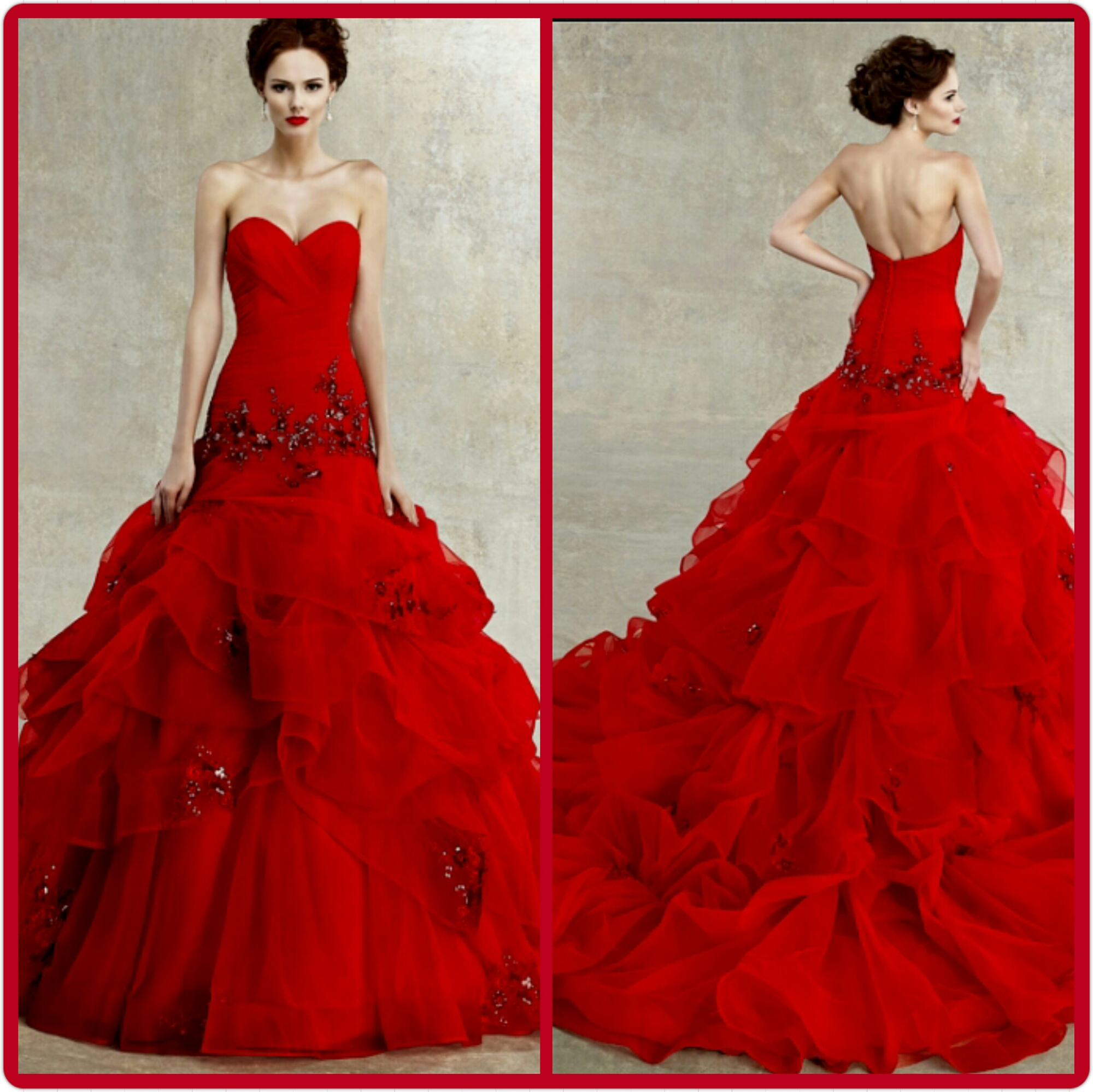Awesome Red Long Gowns Embellishment - Wedding and flowers ...