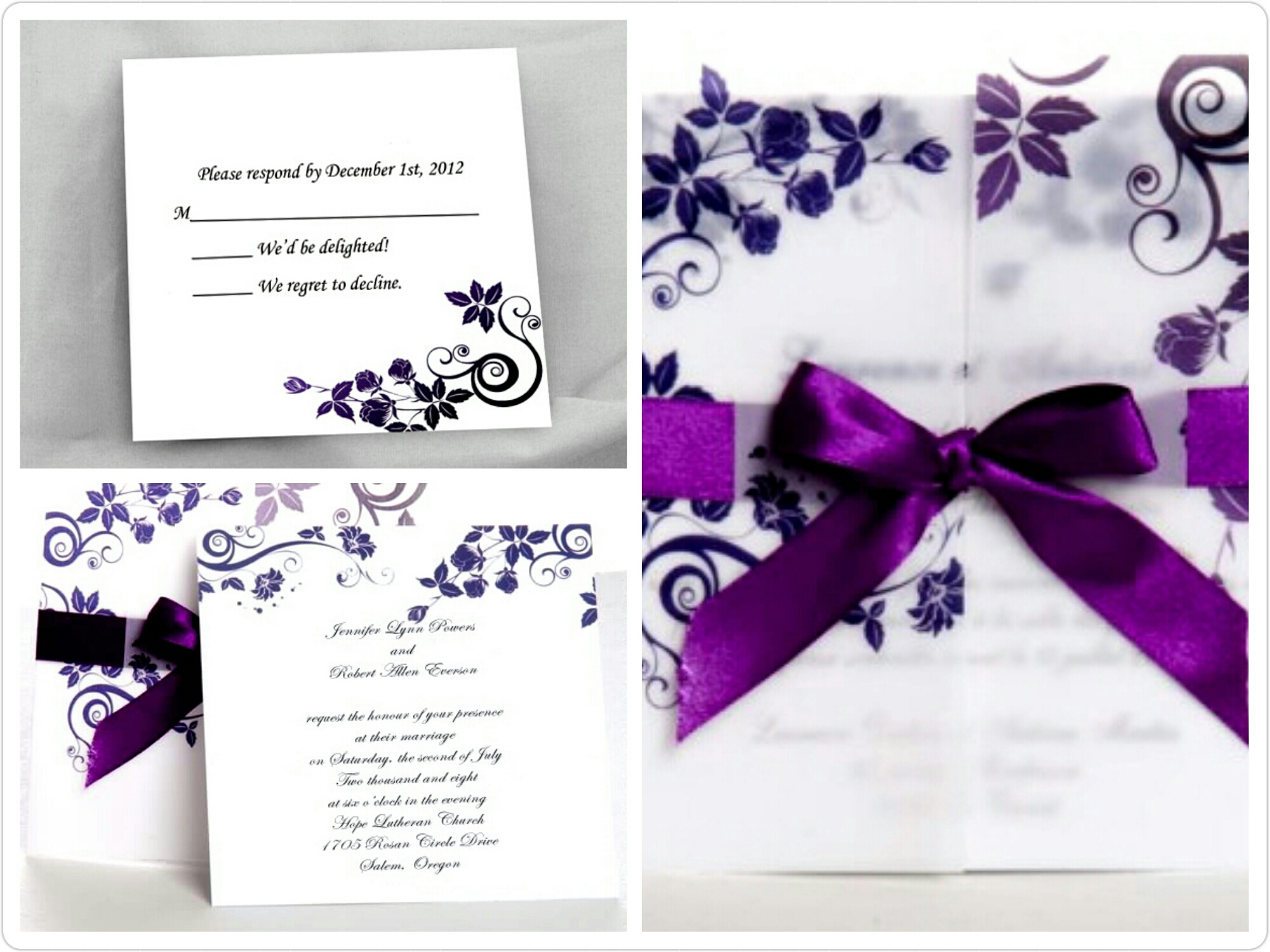 Wedding Invitations With Purple Ribbon: Perfectly Purple Wedding Invites For Fall